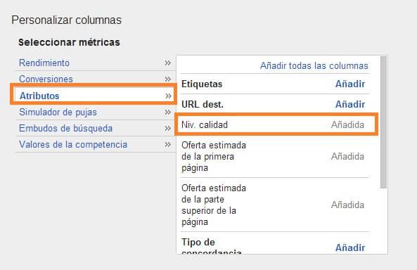 Como funciona Google AdWords - Columna nivel de calidad
