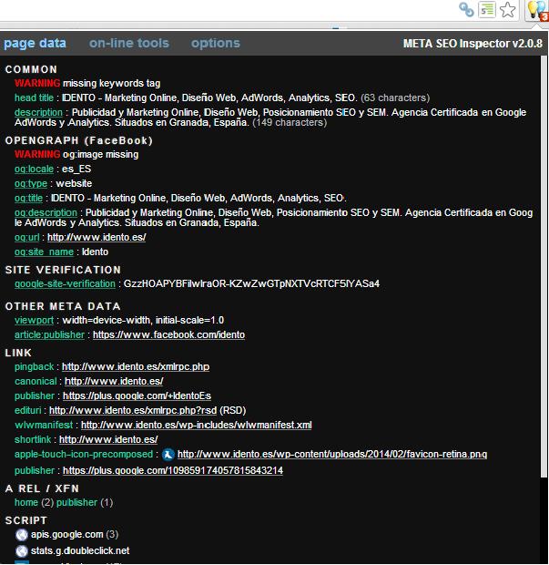 extensión navegador meta seo inspector