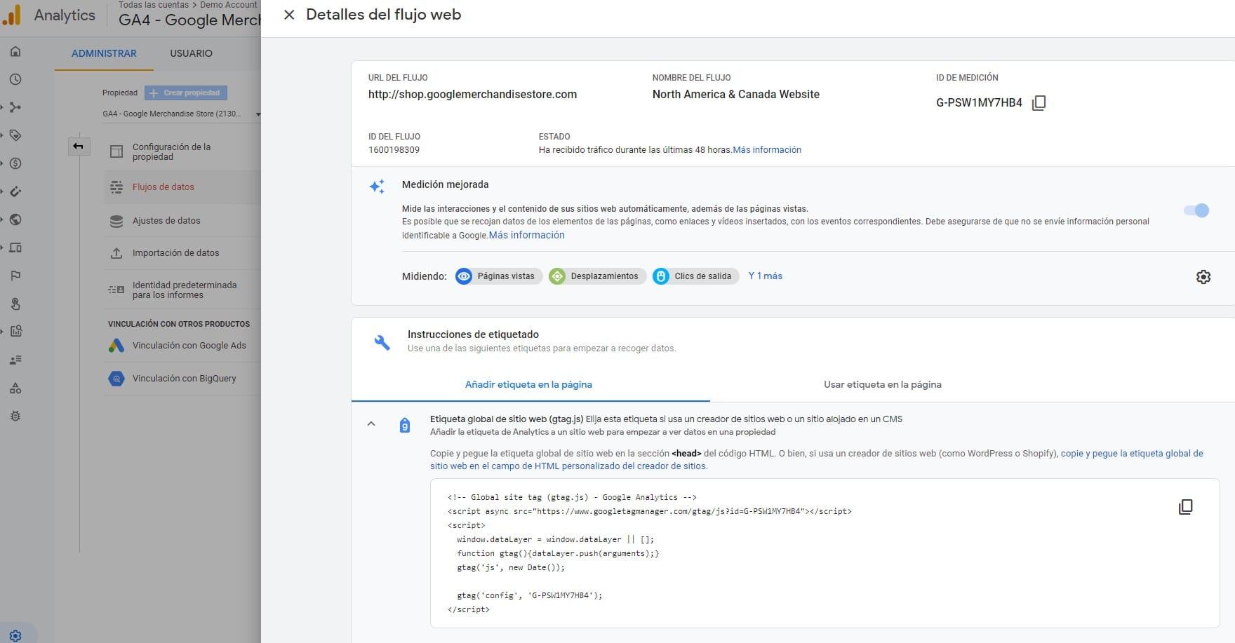 Qué es Google Analytics - Imagen con un ejemplo del código de seguimiento