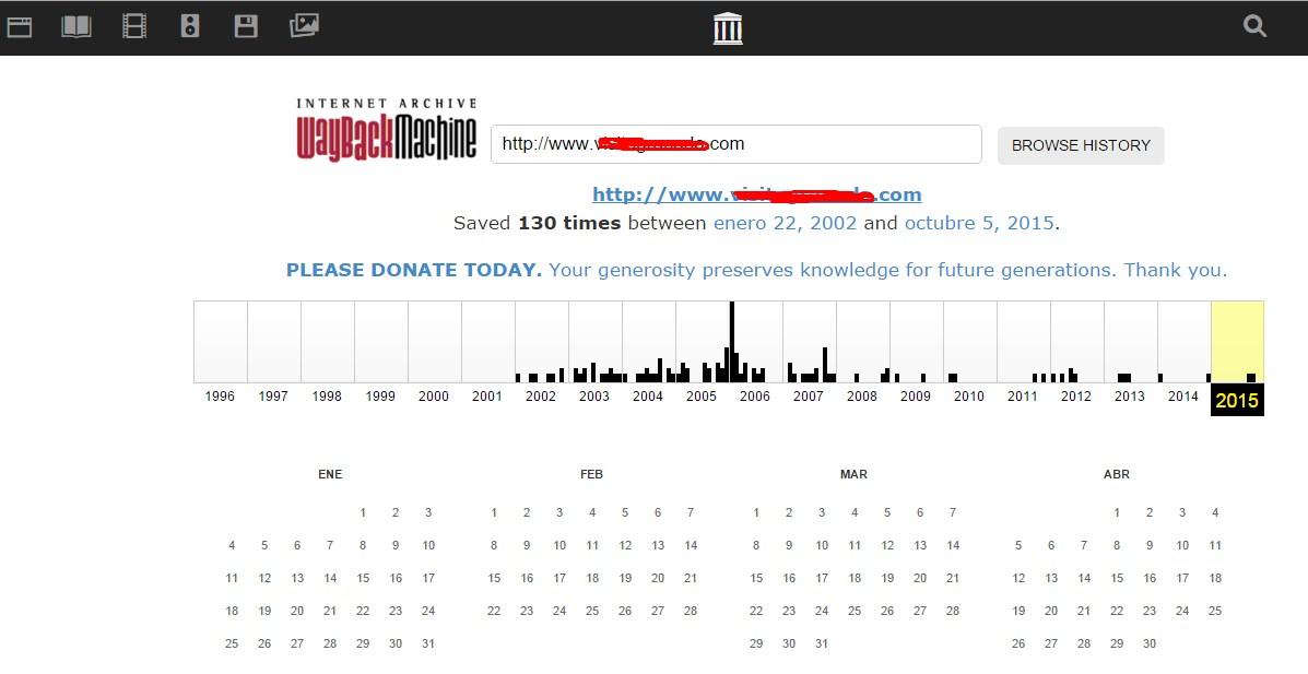 Cómo saber si un dominio está penalizado - Archive.org