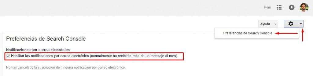 Habilitar Notificaciones por correo electrónico en Google Search Console