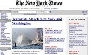Ver páginas webs antiguas - New York Times año 2001