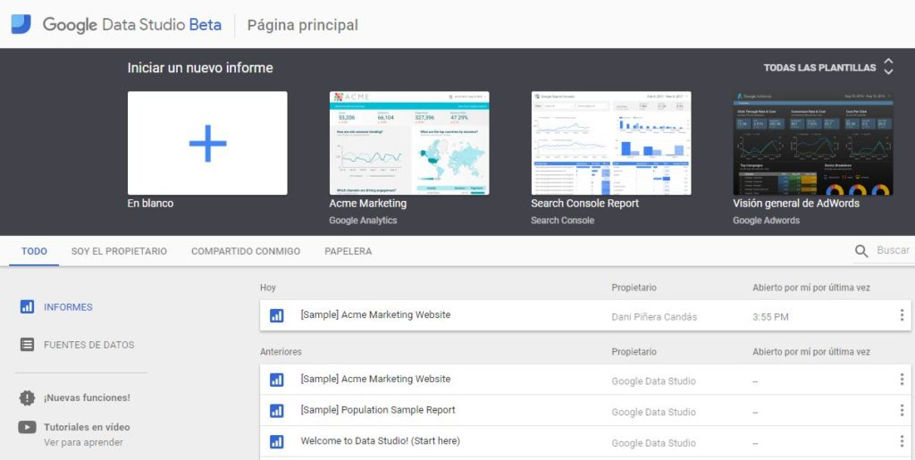 Interfaz Google Data Studio - Pantalla Inicial