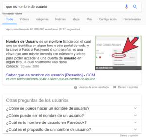 fragmentos destacados en los resultados de búsqueda